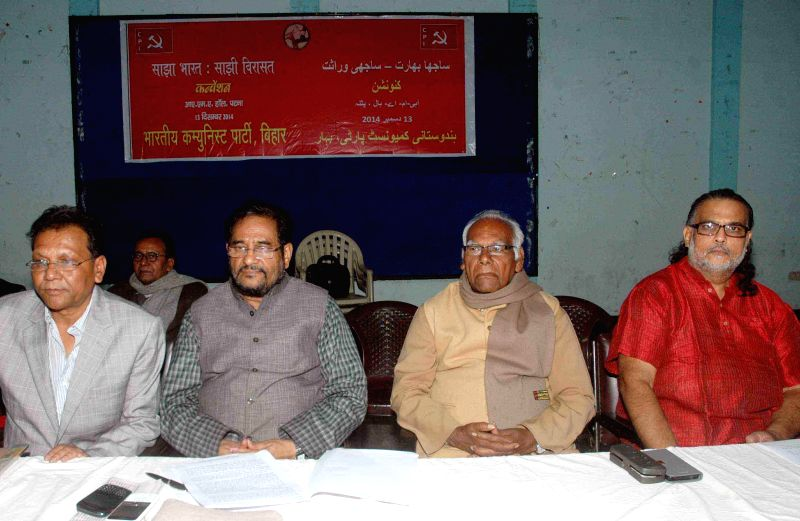 CPI leader Atul Kumar Anjaan with others during a programme organised at IMA Hall in Patna on Dec. 13, 2014.