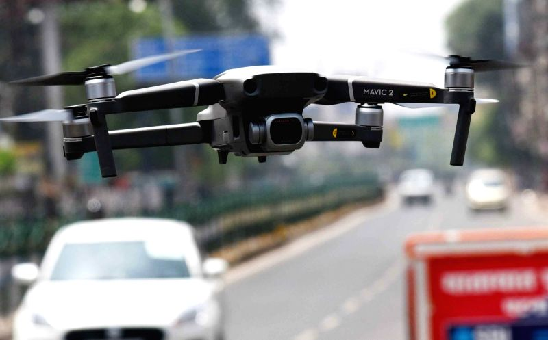 Patna District Administration uses drones for surveillance during the extended nationwide lockdown imposed to mitigate the spread of coronavirus; on Apr 20, 2020. (Photo: IANS)