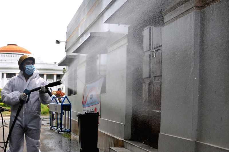 Patna: Firefighters carry out a sanitisation drive at the premises of the West Bengal Legislative Assembly amid the biweekly COVID-19 lockdown in Kolkata on Sep 7, 2020. (Photo: Kuntal Chakrabarty/IANS)