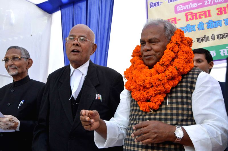 Former Bihar Chief Minister Jitan Ram Manjhi being felicitated during a programme in Patna  on Feb 27, 2015.
