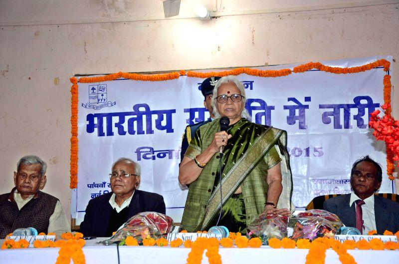Goa Governor Mridula Sinha addresses a seminar organised by the Sociology Department of Patna University in Patna, on Feb 18, 2015. - Mridula Sinha