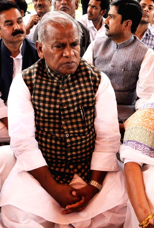 Hindustani Awam Morcha (HAM) leader Jitan Ram Manjhi sits on a day long fast at the Gandhi Maidan in Patna, on March 9, 2015.