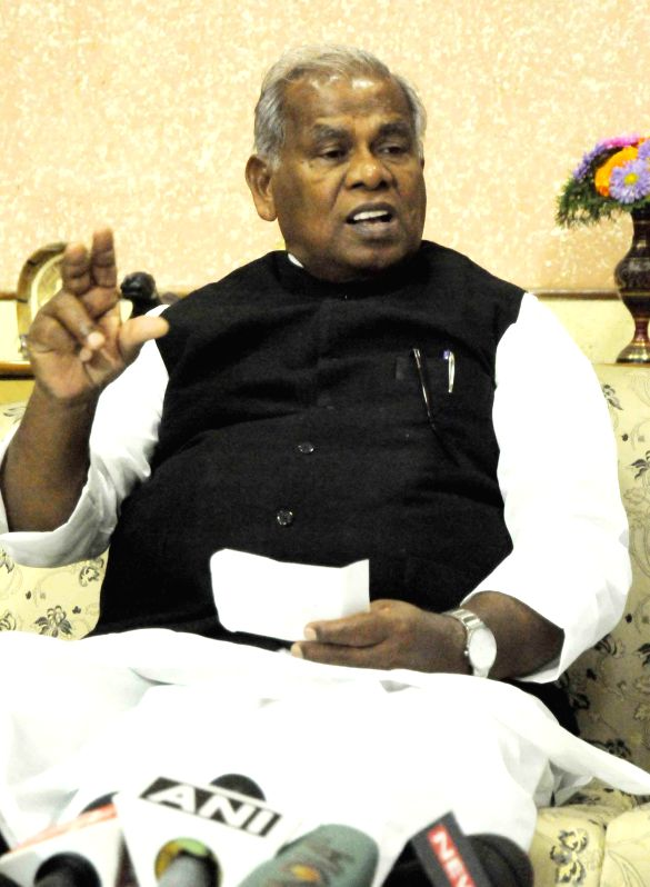Hindustani Awam Morcha (HAM) leader Jitan Ram Manjhi addresses a press conference in Patna, on March 18, 2015.