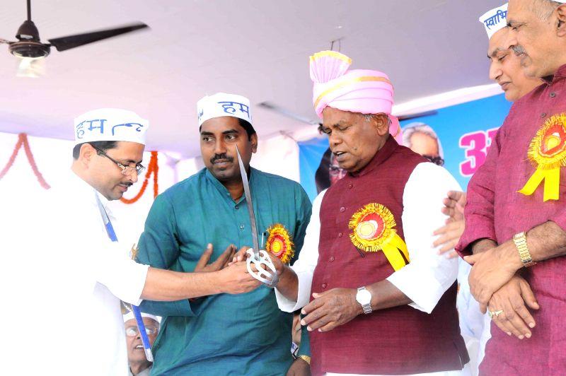 Hindustani Awam Morcha (HAM) leader Jitan Ram Manjhi during a party rally in Gaya of Bihar on March 21, 2015.