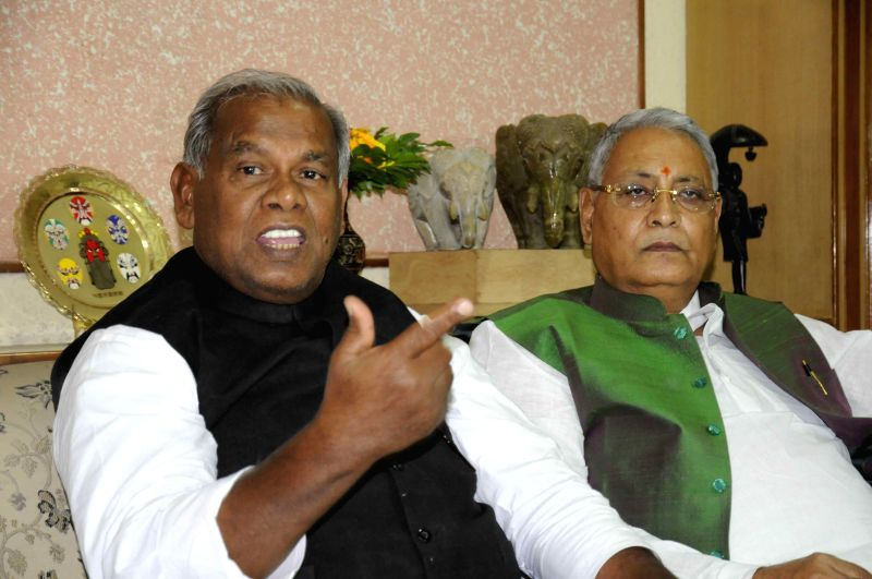 Hindustani Awam Morcha (HAM) leader Jitan Ram Manjhi during a press conference in Patna, on April 15, 2015.