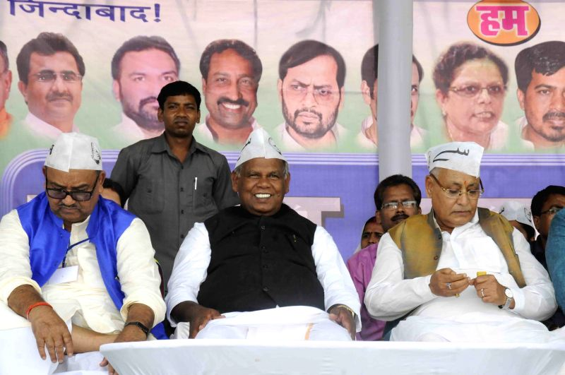 Hindustani Awam Morcha (HAM) leader Jitan Ram Manjhi addresses during Gareeb Swabhiman Rally in Patna, on April 20, 2015.