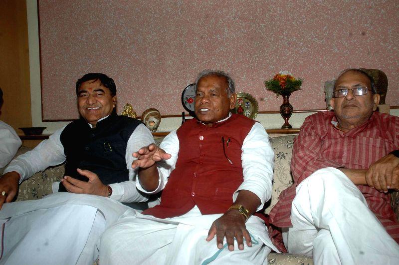 Hindustani Awam Morcha (HAM) leader Jitan Ram Manjhi addresses a press conference in Patna, on April 26, 2015.