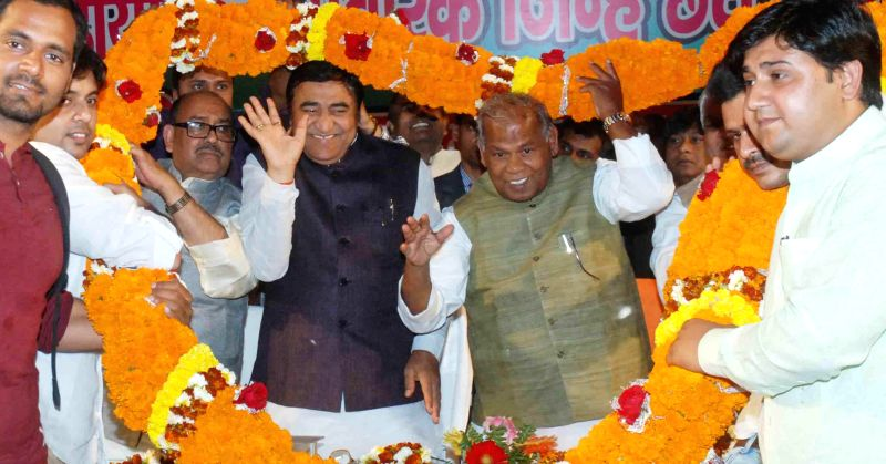 JD(U) leader Jitan Ram Manjhi and others during a party programme in Patna, on Feb 28, 2015.