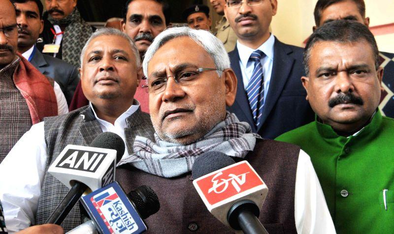 JD (U) leader Nitish Kumar addresses media on Day-1 of the winter session of Bihar Legislative Assembly in Patna, on Dec 19, 2014.