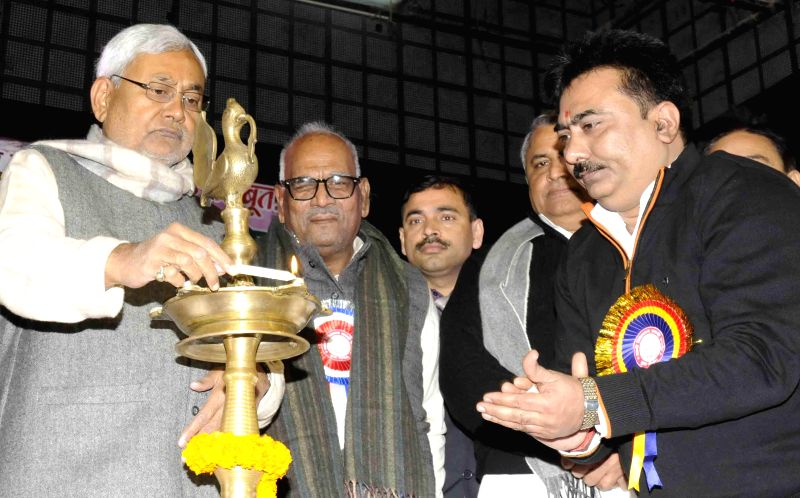 JD(U) leader Nitish Kumar at the inauguration of a programme organised to pay tribute to `Swami Vivekanand` on his birth anniversary in Patna, on Jan 12, 2015.