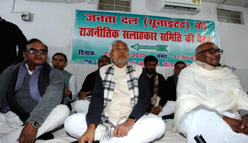 JD (U) leader Nitish Kumar during a meeting in Patna on Jan 3, 2015.