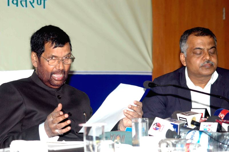 LJP chief and Union Minister for Consumer Affairs, Food and Public Distribution Ramvilas Paswan during a press conference in Patna, on Nov 30, 2014.