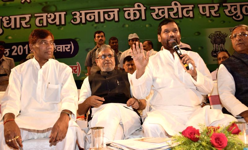 LJP chief and Union Minister for Consumer Affairs, Food and Public Distribution Ramvilas Paswan address during a programme in in Patna, on April 19, 2015.