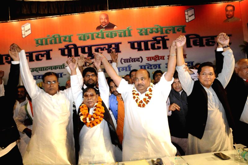 National People`s Party (NPP) chief and MP P A Sangma during a programme organised by National People's Party in Patna on Feb 21, 2015.