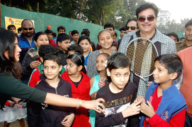 Patna Saheb MP and actor Shatughan Sinha at the inauguration of Dr. Rajender Prasad Memorial Lawn Tennis Tournament in Patna, on Dec 1, 2014.