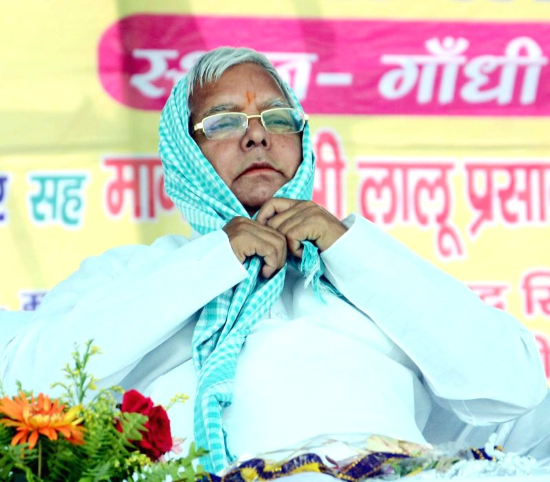 RJD chief Lalu Prasad Yadav during a political awareness rally in Patna, on April 19, 2015. - Lalu Prasad Yadav