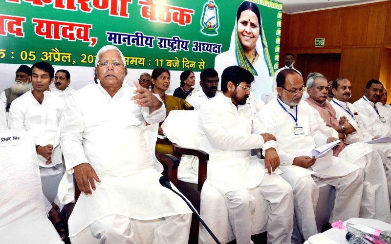 RJD chief Lalu Prasad Yadav during party's national executive meeting in Patna, on April 5, 2015. - Lalu Prasad Yadav
