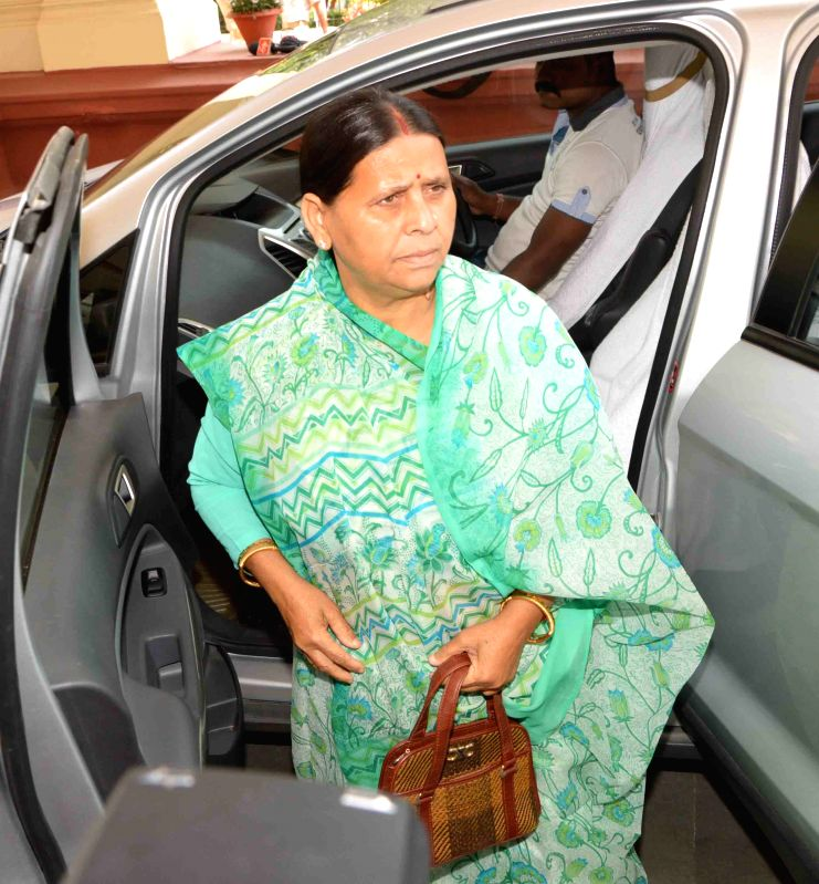 RJD leader Rabri Devi arrives at the Bihar assembly in Patna, on April 8, 2015.