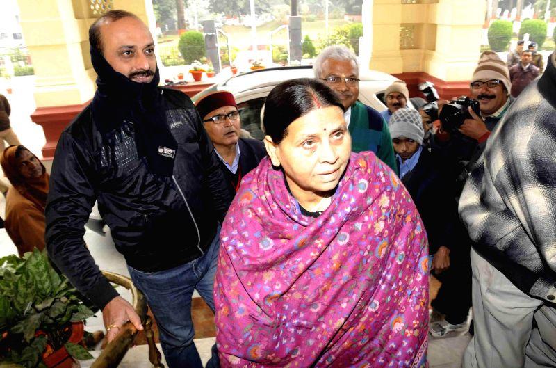 RJD Rabri Devi arrives to attend the winter session of Bihar Legislative Council in Patna, on Dec 24, 2014.