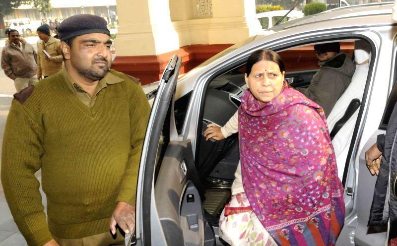 RJD Rabri Devi arrives to attend the winter session of Bihar Legislative Council in Patna, on Dec 26, 2014.