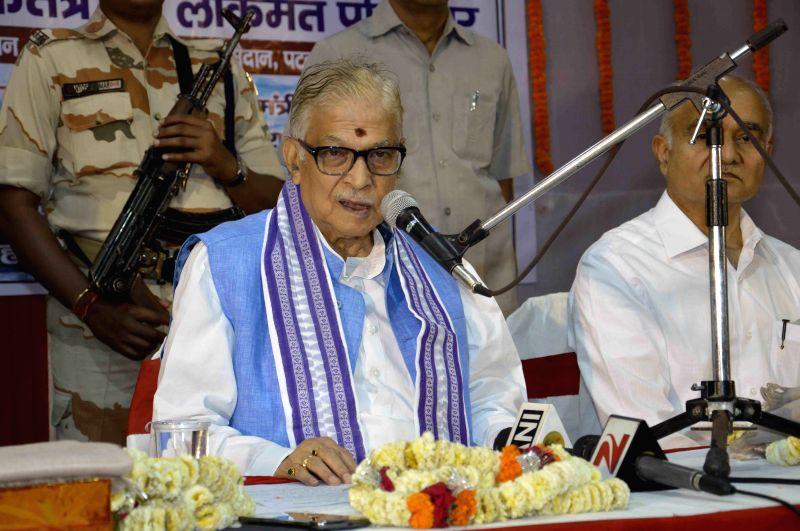 Senior BJP leader Murli Manohar Joshi addresses during a BJP programme in Patna on April 11, 2015.