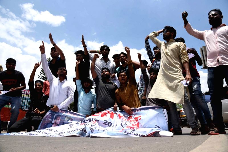 Patna: Student activists observing 'Bharat Bandh' stage a demonstration against the increasing incidents of mob lynching in the country, in Patna on July 6, 2019.