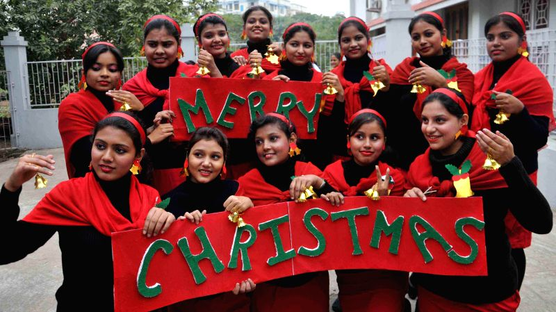 Students of Patna Women's College during Christmas celebrations in Patna on Dec 15, 2014.