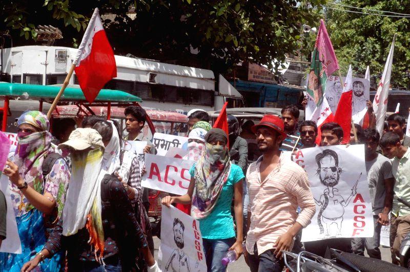 Patna : Students stage a demonstration against Patna University VC in Patna, on May 31, 2016.
