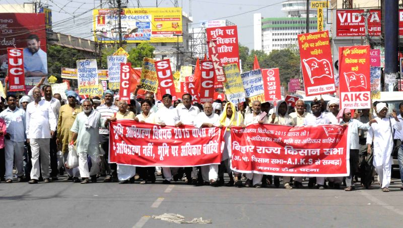 SUCI and AIKS activists and stage a demonstration land acquisition ordinance bill 2015 in Patna on April 11, 2015.