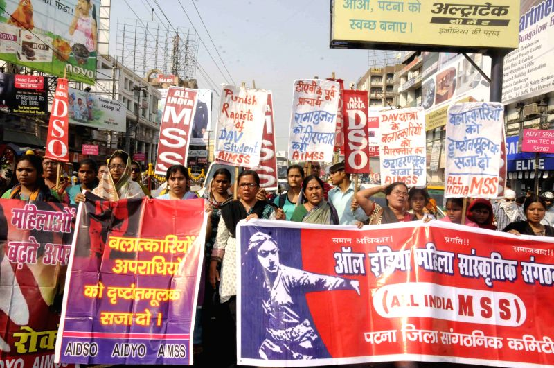 The activists of All India Mahila Sanskritik Sangathan and AIDSO stage a demonstration to demand exemplary punishment for the rapists of DAV student in Patna, on March 25, 2015.