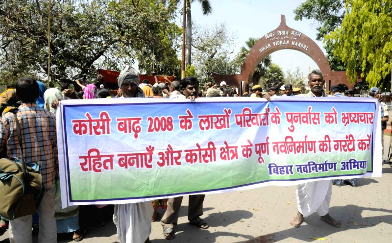 The activists of Bihar Navnirman Abhiyan stage a demonstration at Bihar Assembly in Patna on April 9, 2015.