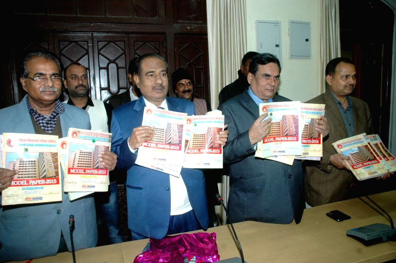 The chairman of BSEB, Lal Kishore Singh releases BSEB Intermediate Exam Model Paper 2015 at the Bihar School Examination Board office in Patna on Jan 10, 2015. - Lal Kishore Singh