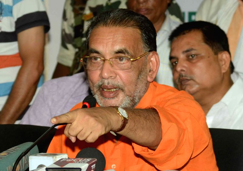 Union Agriculture Minister and BJP leader Radha Mohan Singh addresses a press conference at BJP office in Patna on May 27, 2015.