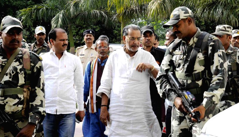 Union Agriculture Minister Radha Mohan Singh arrives to meet BJP chief Amit Shah in Patna, on April 15, 2015.