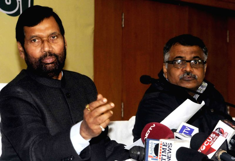 Union Minister for Consumer Affairs, Food and Public Distribution Ram Vilas Paswan addresses during a press conference in Patna on Jan 3, 2015.