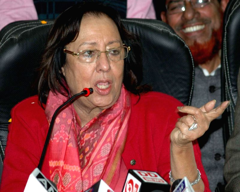 Union Minister for Minority Affairs Dr. Najma A. Heptulla addresses a press conference in Patna on Jan 22, 2015.