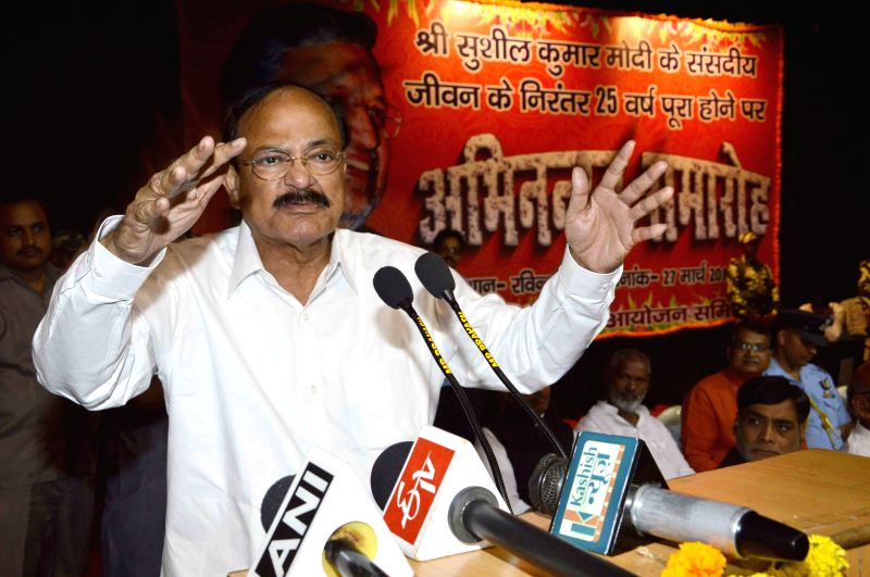 Union Minister for Urban Development, Housing and Urban Poverty Alleviation and Parliamentary Affairs M. Venkaiah Naidu during a BJP programme in Patna, on March 27, 2015. - M. Venkaiah Naidu