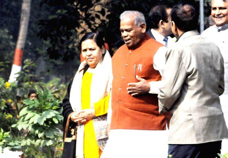 Union Minister for Water Resources, River Development and Ganga Rejuvenation Uma Bharti meets Bihar Chief Minister Jitan Ram Majhi at his official residence in Patna on Feb. 2, 2015. - Jitan Ram Majhi