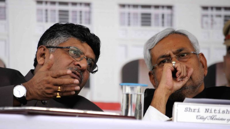 Union Minister of Communications and Information Technology Ravi Shankar Prasad with Bihar Chief Minister Nitish Kumar during inauguration of the Centenary Year Celebration of Patna High Court ... - Nitish Kumar