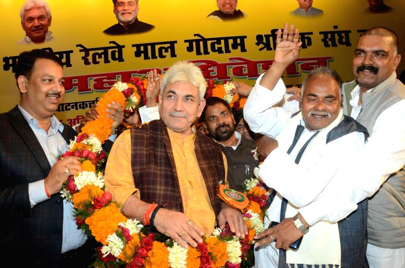 Union Minister of State for Railways Manoj Sinha during a programme organised by Bihar Rajya Railway Malgodam Workers Union in Patna on Jan. 6, 2014.
