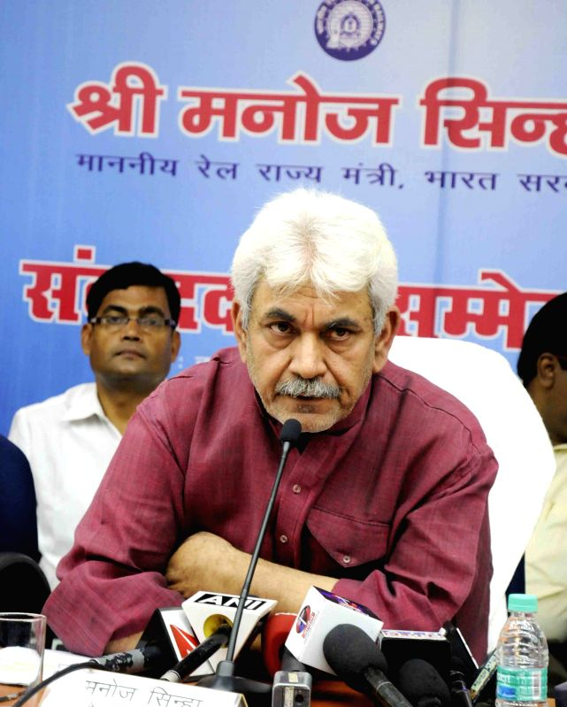 Union Minister of State for Railways Manoj Sinha during a press conference in Patna, on March 31, 2015.