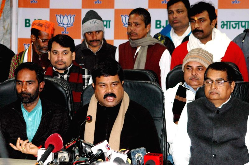 Union Minister of State (Independent Charge) for Petroleum and Natural Gas Dharmendra Pradhan addresses a press conference in Patna on Jan 18, 2015.