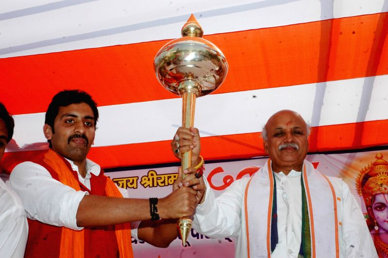 VHP leader Praveen Togadia addresses during a programme in Patna on Feb 23, 2015.