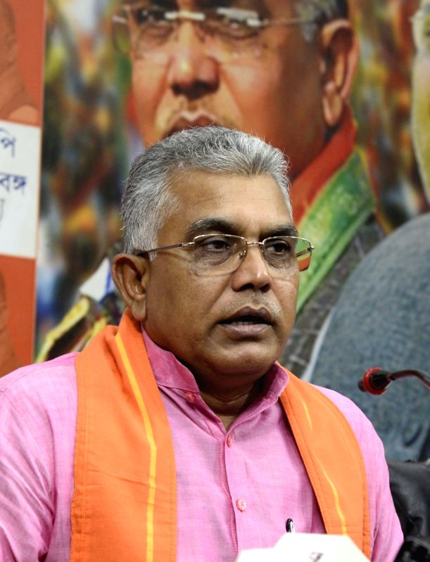 Patna: West Bengal BJP chief Dilip Ghosh addresses a press conference in Kolkata on Nov 16, 2019. (Photo: Kuntal Chakrabarty/IANS)