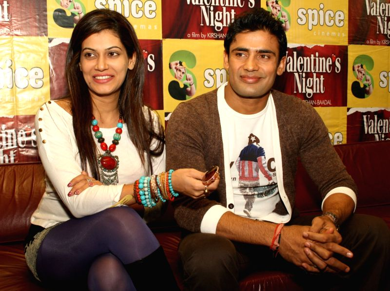 "Payal Rohatgi and Sangram Singh at a Press meet to promote their film ""Valentine's Night"", in Noida ..."