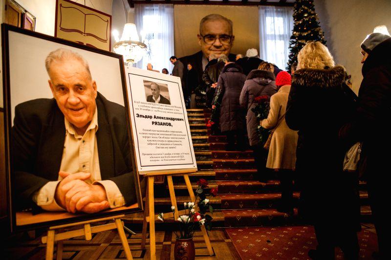 People attend memorial service of film director Eldar Ryazanov in Moscow, Russia, on Nov. 3, 2015. Eldar Ryazanov, famous Russian film director and screen writer, ...