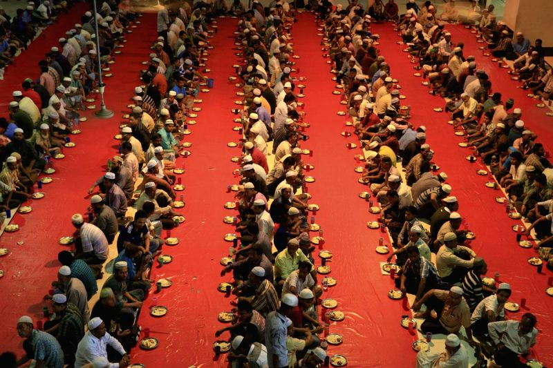 People break their fast during iftaar in Dhaka, Bangladesh on July 2, 2014.