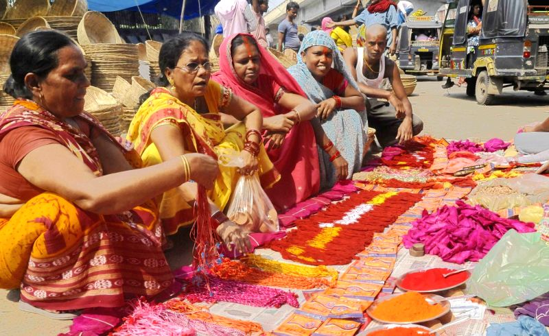 People busy buying puja material during Chhath puja in Patna