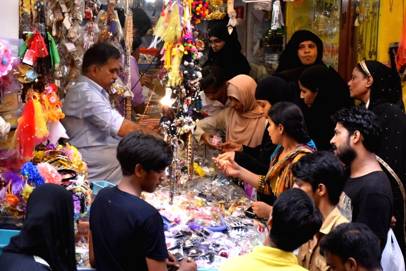People busy shopping ahead of Eid, in Jaipur on June 12, 2018.