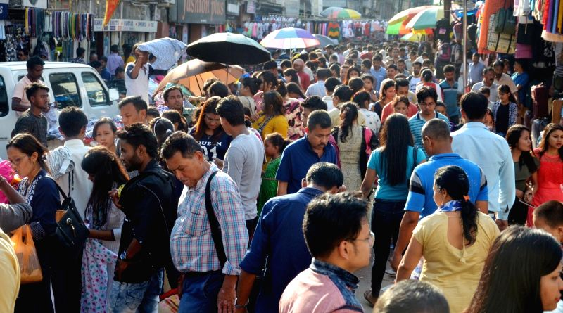 People busy shopping ahead of Rongali Bihu in Guwahati, on April 13, 2018.